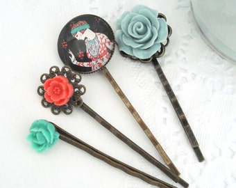 Grey Coral Hair Pins, Vintage Inspired Hair Accessories, Set of Four