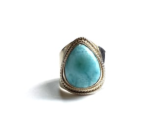 Sterling Silver and Amazonite Teardrop Ring - Size 8 - Vintage