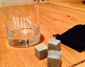 Personalized Engraved  Whiskey Rocks Glass, 11 oz.  with 3 whiskey stones