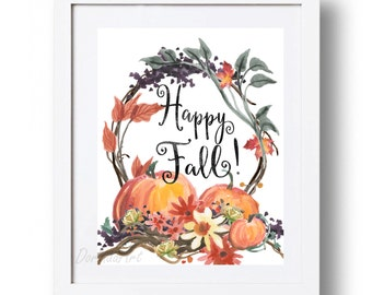 Happy Fall sign Printable Large Autumn Print Watercolor pumpkin Wreath art Floral Autumn printable Fall decor 5x7 8x10 11x14 16x20 DOWNLOAD