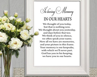 Wedding Memorial table In loving memory printable Memorial sign Memorial quotes We thought of you today .. Memory print 5x7 + 8x10 DOWNLOAD