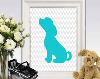 Dog printable Puppy print Teal Gray Nursery wall art Grey chevron Teal Nursery wall decor Puppy Silhouette 5x7 8x10 11x14 INSTANT DOWNLOAD