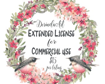 Extended license, Commercial license, Commercial use, Extended use, License for one INSTANT DOWNLOAD LISTING