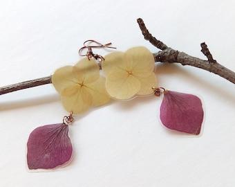 Real Flower Jewelry - Hydrangea Earrings - Pressed Flowers - Hydrangea Jewelry - Nature Jewelry