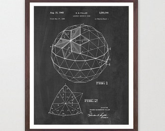 Buckminster Fuller - Geodesic Dome Patent - Architecture Poster - Architecture Wall Art - Buckminster Fuller Art - Geodesic Dome Art - Dome