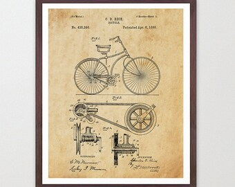 Bicycle Poster - Vintage Bicycles Patent - Bike Poster - Bike Art - Bicycle Print - Bicycle Wall Art - Bike Patent - Cycling Art - Cyclist