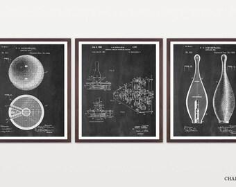 Bowling Patent Set - Bowling Art - Inventions of Bowling - Bowling Ball Patent - Bowling Pins - Vintage Bowling - Bowling Patent Art