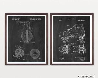 Roller Disco Patent Set - Roller Skate Patent - Disco Patent -Disco Poster - Roller Skate Art - Retro Poster - Retro Poster - Disco Ball