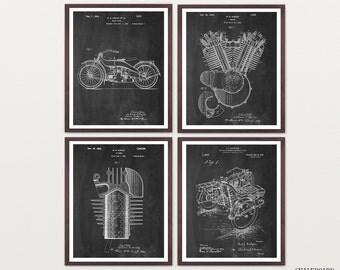Harley Davidson Poster - Set of 4 Prints - Harley Poster - Harley Davidson Motorcycle - Harley Engine - Harley Art - Harley Patent - Biker