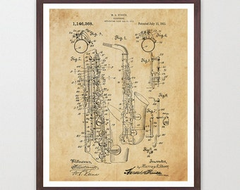 Saxophone Patent - Saxophone - Sax - Sax Patent - Saxophone Art - Marching Band - Musical Instrument - Music Wall Art - Saxophone Picture
