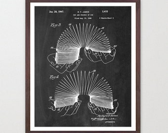 Slinky Poster - Slinky Patent - Toy Poster - Vintage Toy Print - Kids Room Art - Kids Wall Art - Child Art - Kids Poster - Boys Room