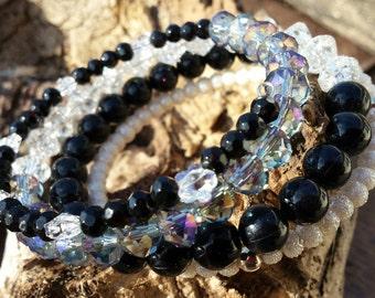 Bracelet - Memory Wire Black & Crystal