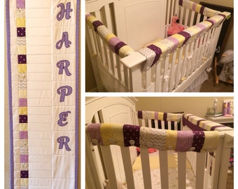 Matching Teething Crib Guard and Growth Chart Quilt