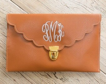 Monogram scallop Envelope Clutch