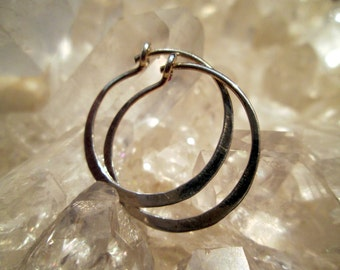 "Sterling Silver Hoop Earrings 15/16"" Inch  Handmade  ~Light Weight~"