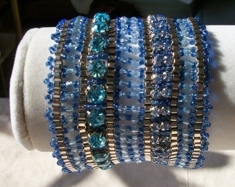 Vintage Crystal and Seed Bead Cuff