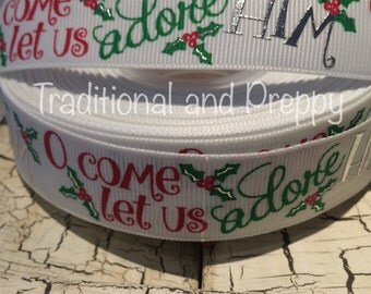 """7/8"""" Christmas Oh Come Let Us Adore Him Religious grosgrain Silver Foil ribbon sold by the yard"""