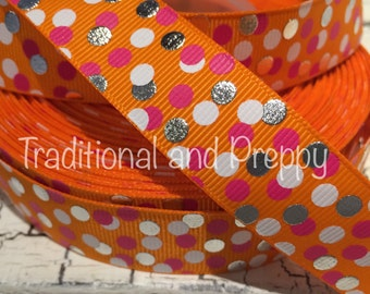 "7/8"" Confetti Dot Dots Orange Pink Metallic Silver White DOTS Grosgrain Ribbon US Designer sold by the yard"