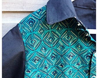 Mens retro style button-down casual shirt / hipster / funky party shirt with green surfer print / rockabilly / Made to order sizes S-XXL
