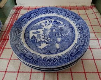 MOVINGSALE 35% OFF Globe Pottery Company Blue Willow Transferware Plate. Made in England.