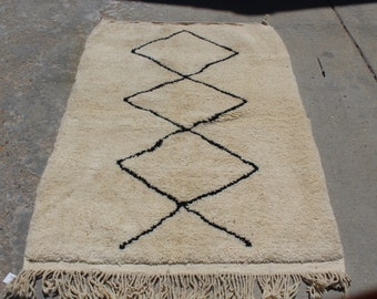 free shipping  New moroccan Beni ourain berber rugHZ14  handwoven Moroccan wool carpet GIFT 5ft 1'' x 3ft 7'' moroccan rug