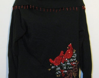 Foldover neck fringed sequined beaded ugly christmas sweater. Tacky masterpiece size L large cardinals and bows