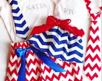 Brother and sister matching outfits, red white and blue, 4th of July, Forth of July, matching dresses and ties, personalized