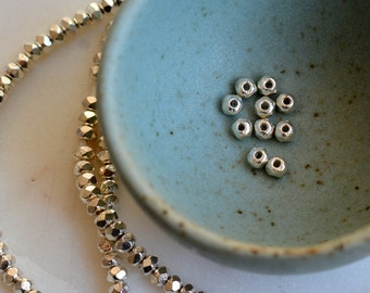 Karen Hill Tribe Silver Beads, Faceted Rondelle Spacer Beads, Hill Tribe Beads, Thai Beads, Sterling Silver Beads, Strand, 323 Beads, AL15-8