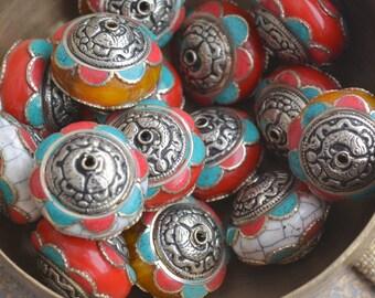 Large Red Tibetan Round, Flat, Turquoise, Coral Inlay Bead, Tibetan Beads, Nepal Beads, Focal Bead, Tibetan Earrings, Tibetan Necklace, Pair