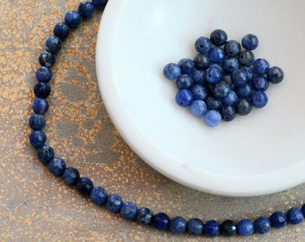 Faceted Sodalite Beads, Semi Precious, Gemstone Beads, Blue Sodalite, Cobalt Blue, Dark Blue Faceted Beads,Strand,65 Beads,MAN15-301
