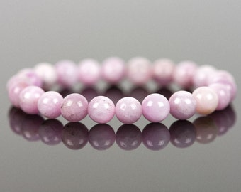 Kunzite Bracelet, Natural Gemstone Bracelet, Handmade Jewelry, Women's Fashion, 8mm Kunzite
