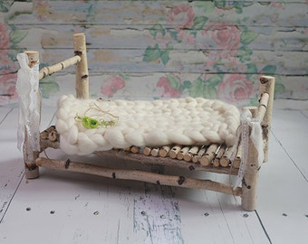 Wooden bed, Newborn Prop, photography prop, Natural wood bed photography prop with bark edge
