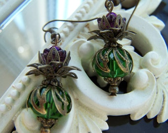 Thistle Earrings Bronze Tone
