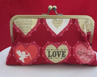Clutch Purse, Red Heart Purse, Bridesmaid Clutch, Wedding Clutch, Bridesmaid Gift, Vintage Purse, Bridal Clutch, Bridesmaid Thank you