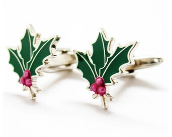 Holly and Berries Holiday Cheer Tis the Season Cufflinks Cuff Links