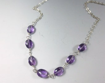 Amethyst Necklace, 18 inch Argentium Sterling Silver, February Birthstone, Amethyst Birthstone, Birthday Jewelry, Amethyst Jewelry (#364)