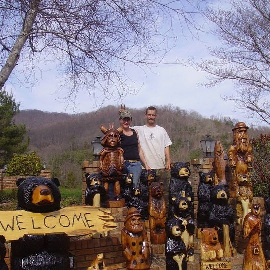 Maine made wood chainsaw carvings by alwayscarving on etsy