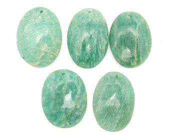 Amazonite Drilled Bead - Top Center Drilled Oval Shaped Amazonite Bead - (RK58B1-11)