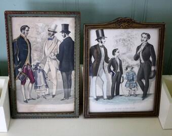 Antique Mens Paris Fashion Plates Etchings French Prints