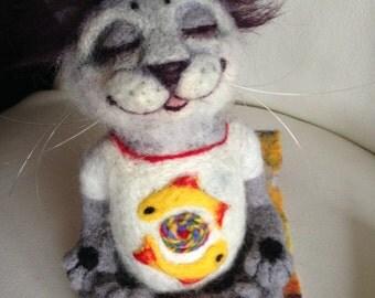 Felted Toy - Yogi Cat - Namaste