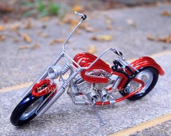 Mini Handmade HARLEY DAVIDSON Aluminium Wire Art Sculpture Motorcycle Model Red