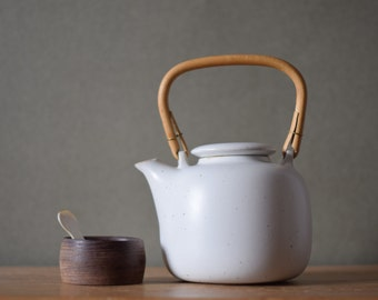 Vintage Danish - Knabstrup Denmark - teapot - bamboo handle - beige - midcentury