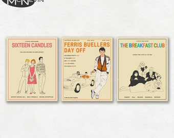 JOHN HUGHES Movie Poster Set of 3 - 16 Candles, The Breakfast Club, Ferris Bueller's Day Off - Fine Art Prints