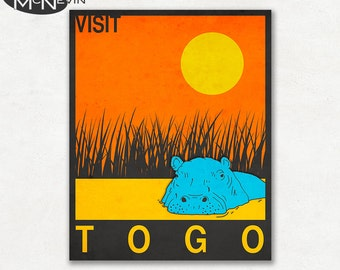 TOGO, AFRICAN Travel Poster, Retro Pop Art