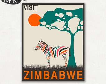ZIMBABWE, AFRICAN Travel Poster, Retro Pop Art