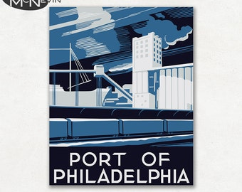 PORT of PHILADELPHIA, Vintage 1930's WPA Poster Reproduction, United States Travel Poster