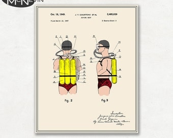 JACQUES COUSTEAU SCUBA Gear Patent, Vintage Fine Art Print Poster, Colour, Blueprint, or Black and White