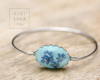 Bracelet with genuine blue Forget Me Nots - A067