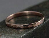 14K Rose Gold Ring--2mm Wide Perfect Hammered Band--Women's Wedding Band--Hammered Women's Ring--Thin Wedding Ring--14K Gold Band--Midi Ring