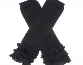 Black with Cotton Ruffle Leg Warmers